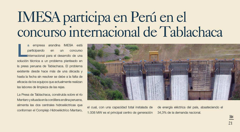 Imesa participa en Perú en el concurso internacional de Tablachaca