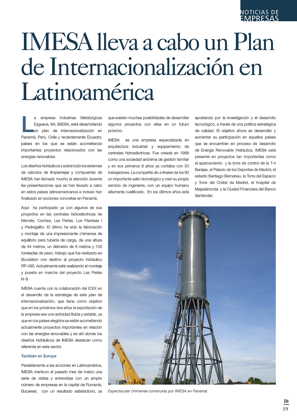 Imesa lleva a cabo un plan de internacionalización en Latinoamérica