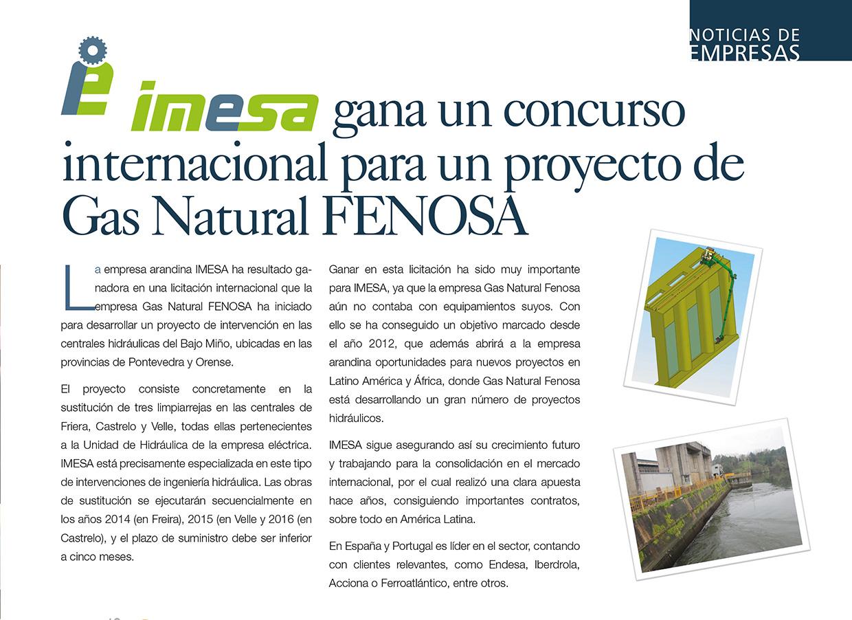 Imesa gana un concurso internacional para un proyecto de Gas Natural FENOSA