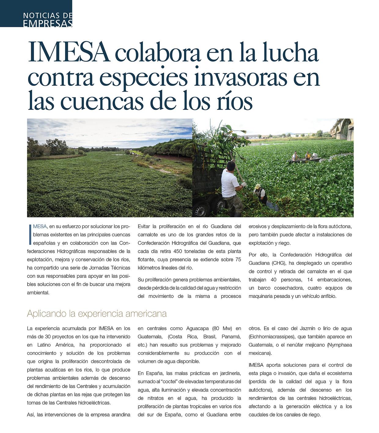 Imesa colabora en la lucha contra especies invasoras en las cuencas de los ríos