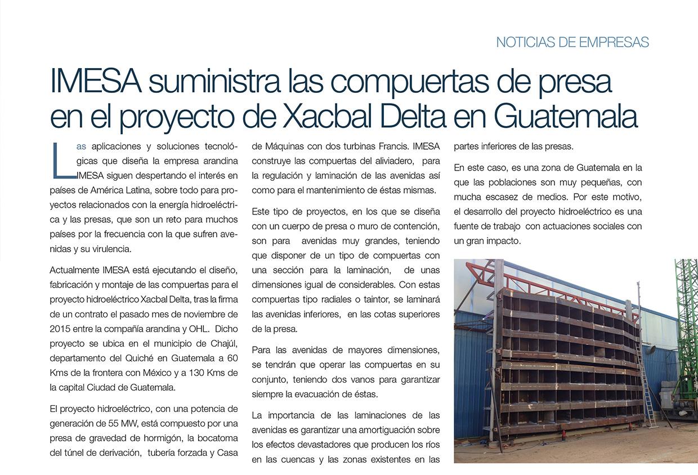Imesa suministra las compuertas de presa en el proyecto de Xacbal Delta en Guatemala